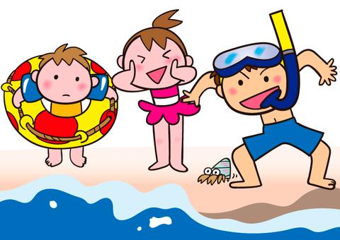 Children frolic around the summer seaside
