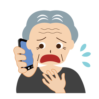 An image of a grandfather calling with a troubled face