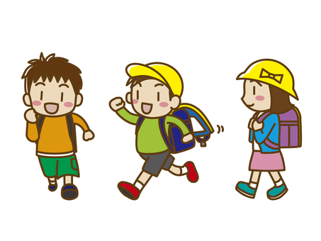 Elementary school students and school bags