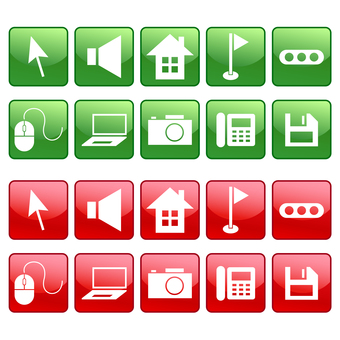 ノートPC、家、カメラなどのアイコン