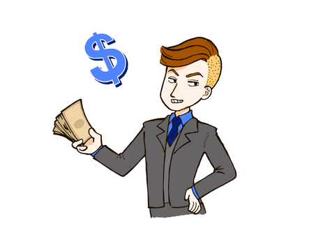 Salary man and money