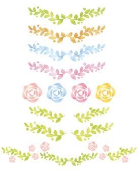 水彩風格的玫瑰線