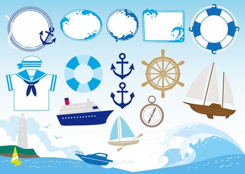 Ship and sea image material set