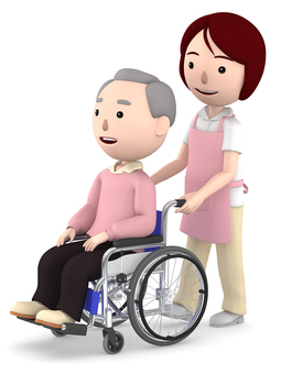 Grandfather of wheelchair and female helper