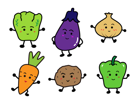 Cute vegetable illustration set