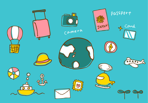 Travel icons Scribble Colorful