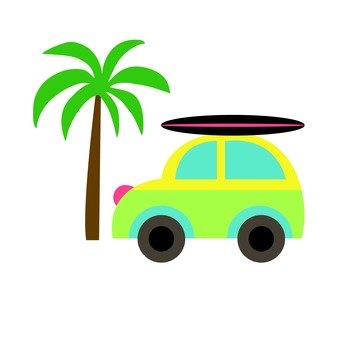 Car with palm tree and surfboard