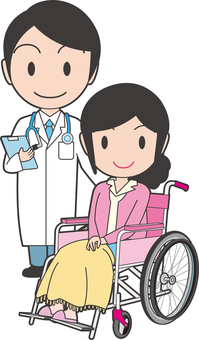 A woman and a doctor on a wheelchair