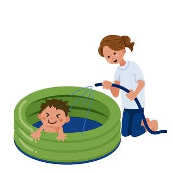 Parent and child playing in a plastic pool