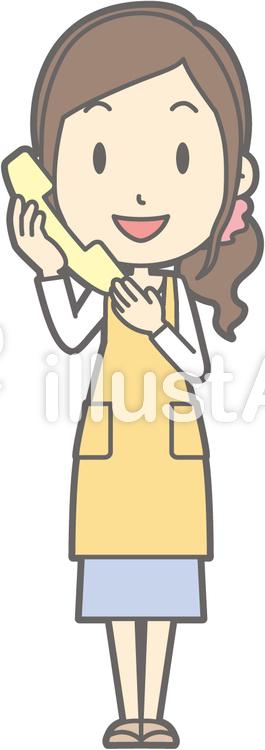 主婦f-電話-全身のイラスト