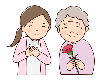 Granny and woman and flower 1