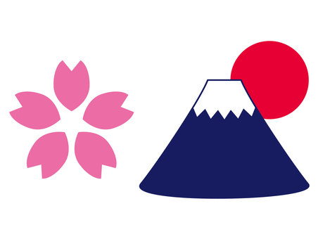 Mt. Fuji and Hinomaru and Sakura
