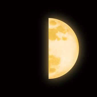 Yellow first quarter moon