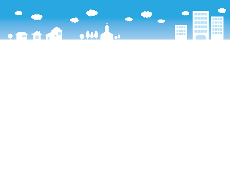 Frame blue sky cityscape
