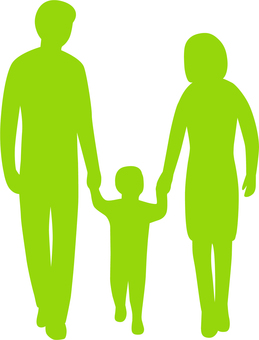 Family _ 3 people _ hand connected _ silhouette _ green