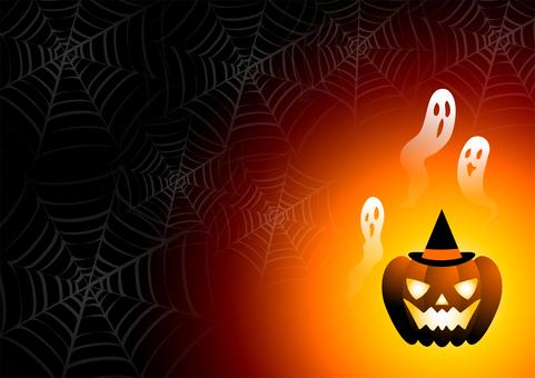 クモの巣とジャックオーランタンと霊