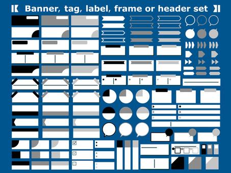 Frame monochrome headline set sticky note memo arrow