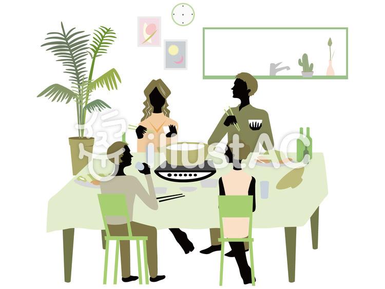 スタイリッシュな家族の食卓イラスト No 742366無料イラストなら