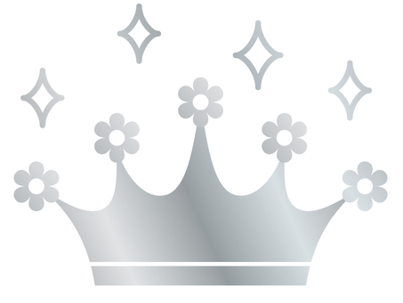 Tiara (flower / silver glittering)