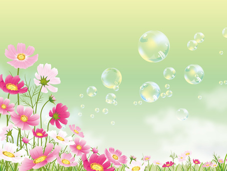 Soap bubble floating in cosmos field blue sky background 04