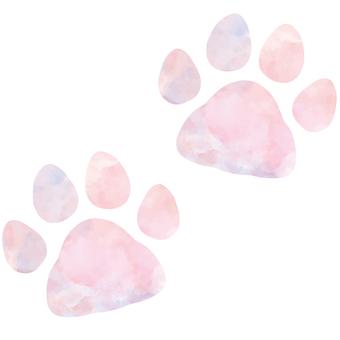 ピンク色の肉球 足跡(シルエット)