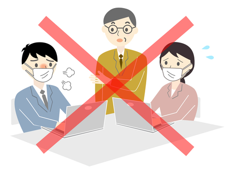 Illustration of close employees in the office