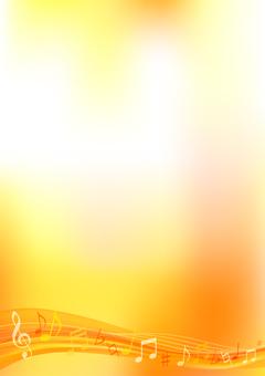 オレンジ色のウェーブ音符の縦長フレーム枠