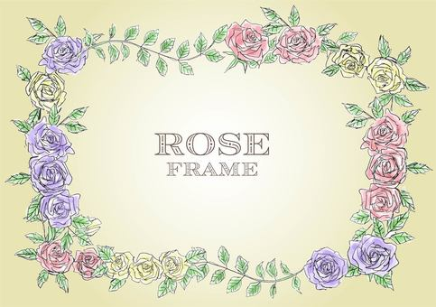 Watercolor color rose frame