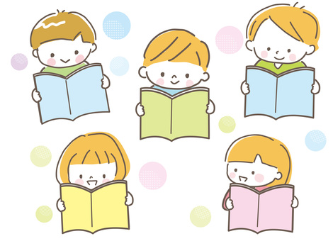 Children reading picture books