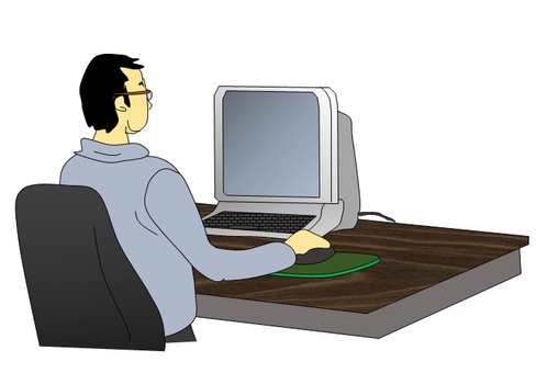 A man who plays a personal computer