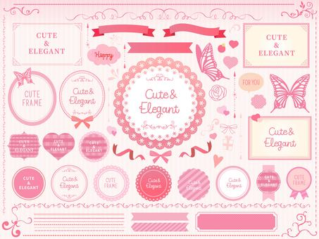 Cute and elegant frame set pink
