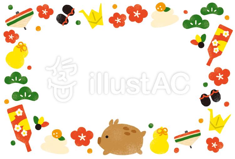 猪のお正月小物たくさんフレームイラスト No 1290251無料イラスト