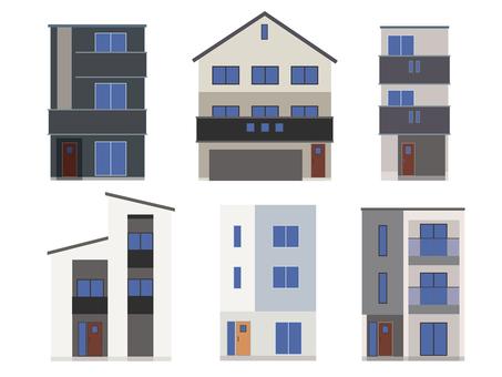 House, three-storey house, illustration