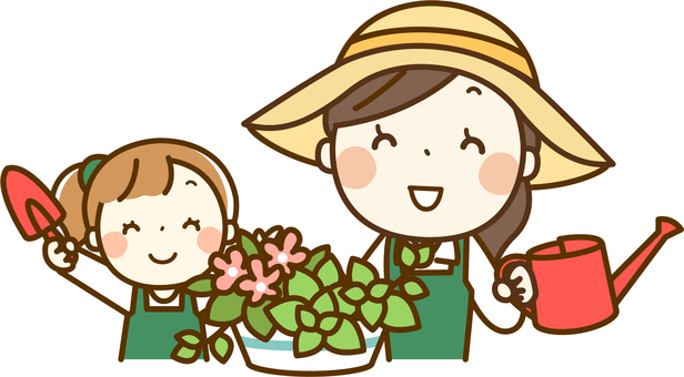 Parent and child gardening