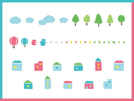 House trees flowers clouds air balloons birds