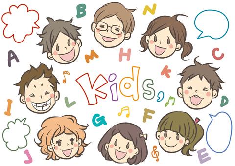 孩子的臉上的插圖集
