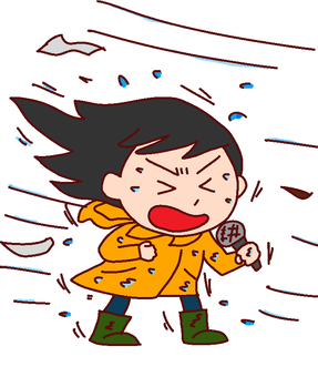 Illustration of a female reporter relaying a typhoon