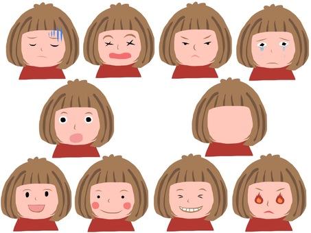 Various girls' facial expressions