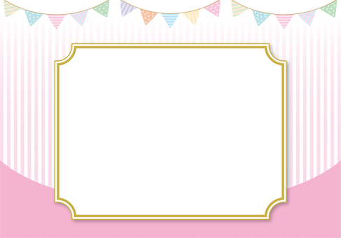Pink frame and flag