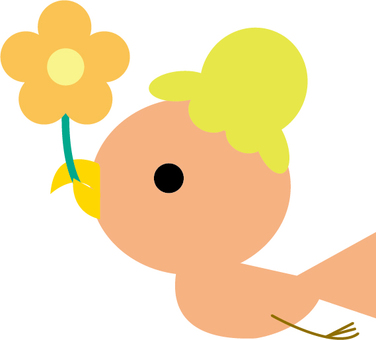 Pink hat bird that fly in the sky with flowers