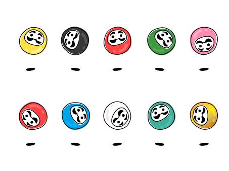 Daruma colorful set cute material