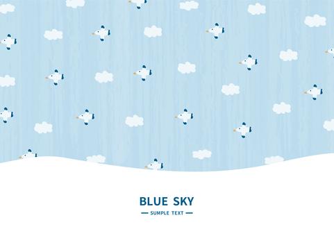새가 날아 푸른 하늘 일러스트