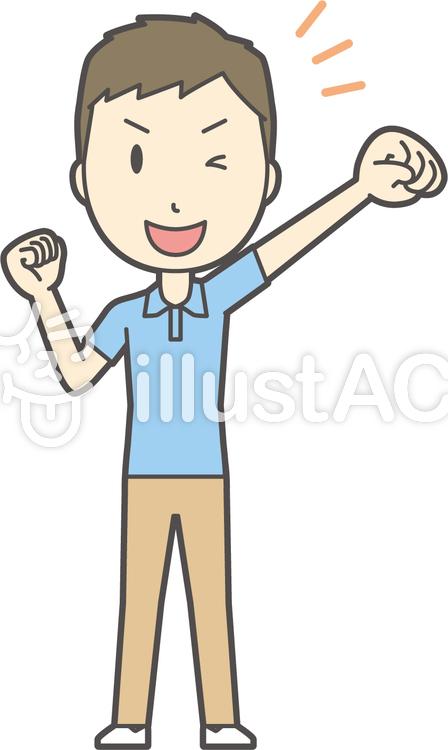 青ポロシャツ男性-147-全身のイラスト