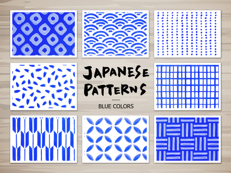 Japanese pattern of hand-painted (blue)