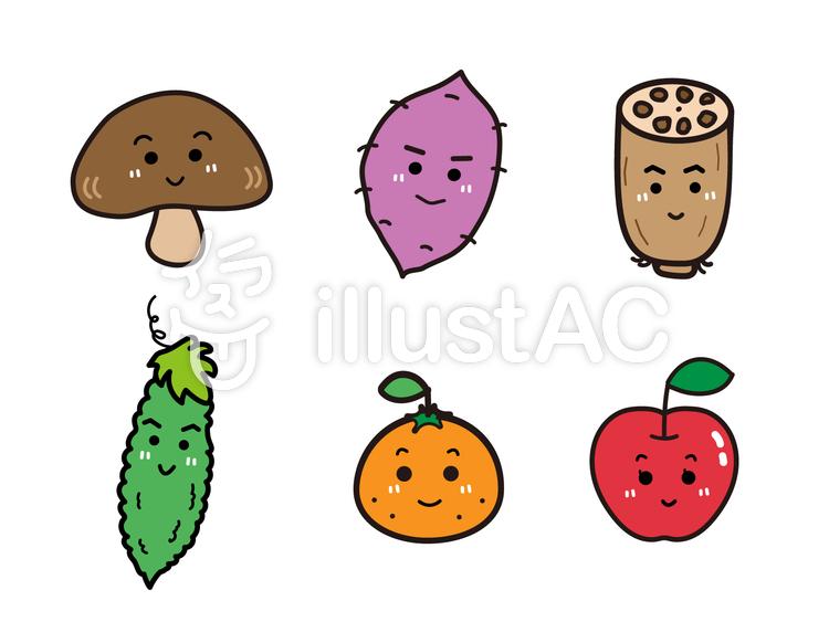 かわいい野菜とくだものセットイラスト No 858383無料イラストなら