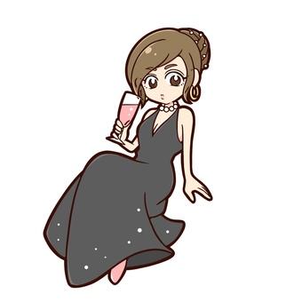 Sexy woman in black long dress