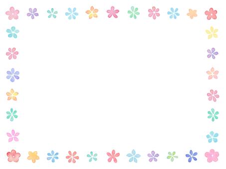 Water color flower frame D1