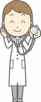 栄養士女性a-聴診器-全身