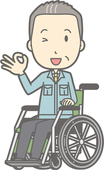 Middle-aged man work clothes - Wheelchair okay - whole body