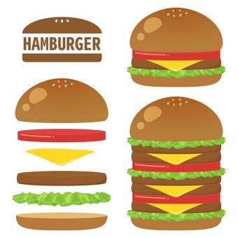 Hamburger set stacked